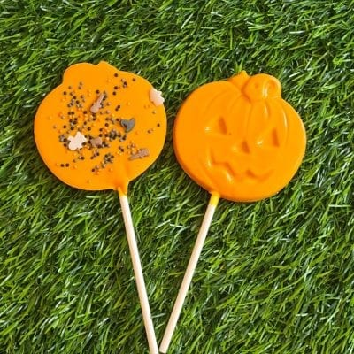 Halloween pumpkin chocolate lolly